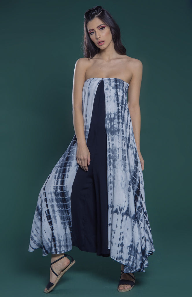 Layered jumpsuit with straight across neckline and wide legged bottom