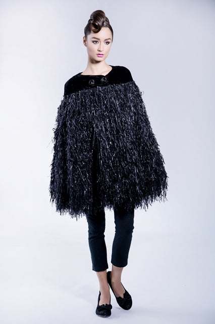 Velvet with fringed jacquard cape