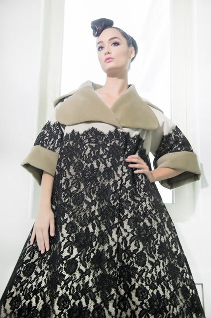 Over-sized two-tone lace coated wool coat