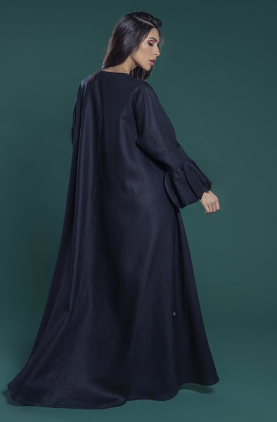 Abaya with contrasting tulip pleated cuff