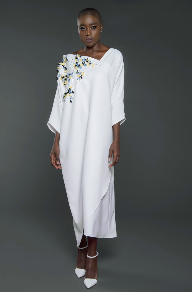 Embellished Kaftan with Dolman Sleeves and Overlapping Hemline