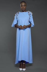 Kaftan with embellished petal sleeves and high-low hemline