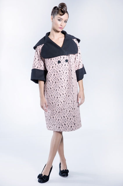 Over-sized lace coated wool coat