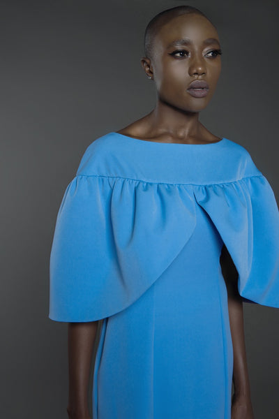 Kaftan with oversized petal structured cape sleeves