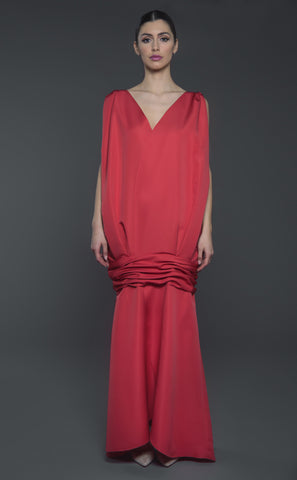 Double overlapping petals structured sleeveless maxi Dress with cinched under hip detail