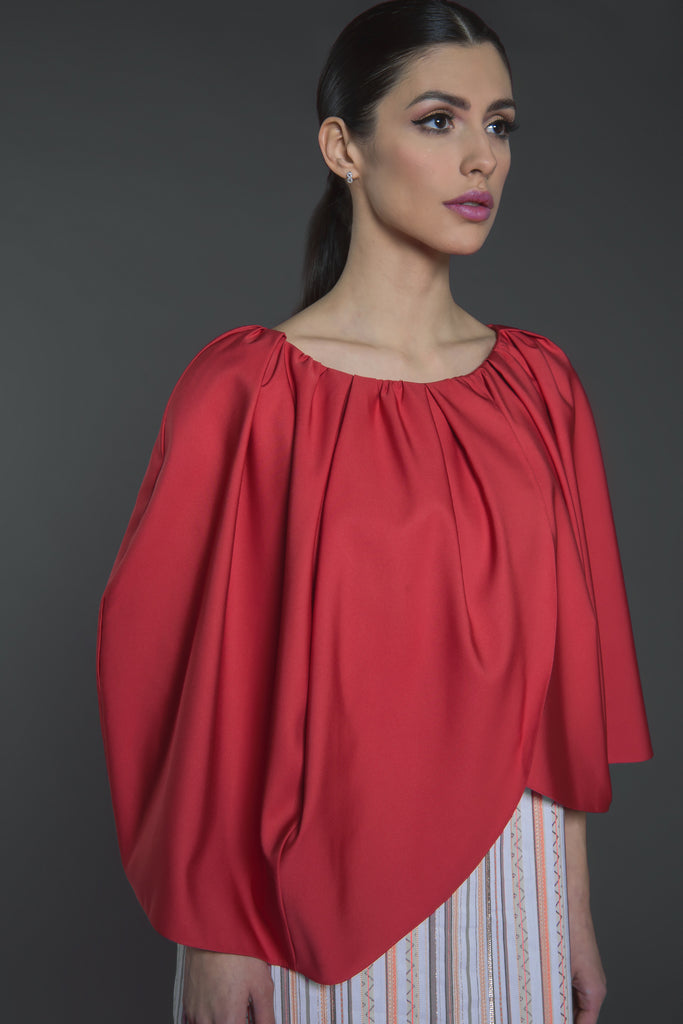 Layered Kaftan with overlapping cape sleeves and canvas bottom