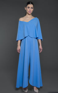 Jumpsuit with off shoulder style cape sleeves, belted waist and wide legged bottoms