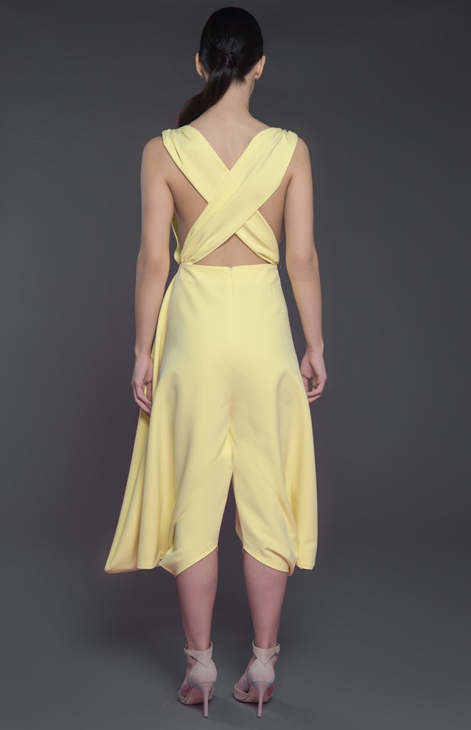 Sleeveless Jumpsuit with cross back and structure harem style bottom
