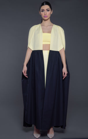 Cape Styled Two Toned Abaya with Petal Sleeves
