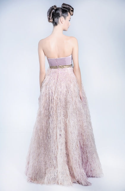 Fringed organza tube dress with silk velvet