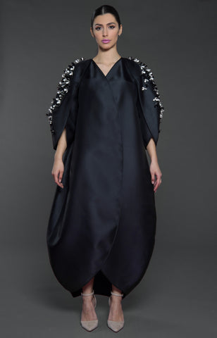 Tulip structured overlapping front Abaya with embellished petal style sleeves.