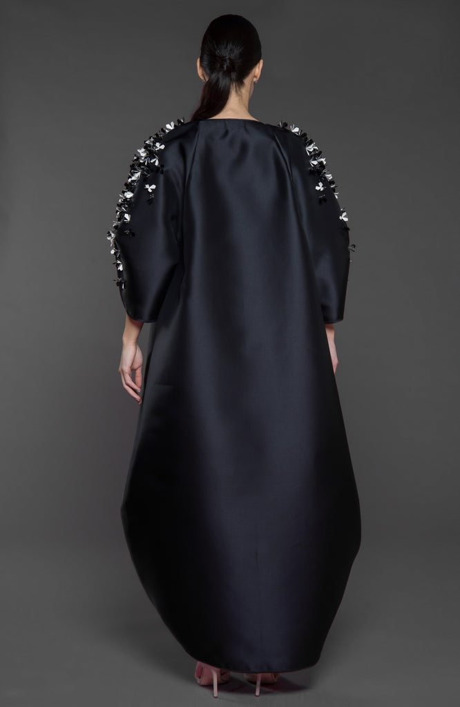 Tulip structured overlapping front Abaya with embellished petal style sleeves