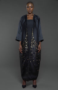 Abaya with embellished front and pockets