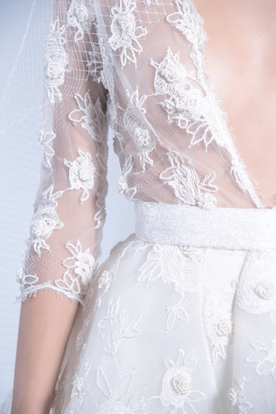 Ivory embroidered french lace with silk satin skirt