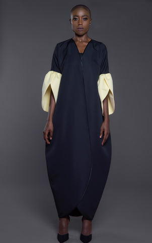 Overlapping front Abaya with petal structured cuffs