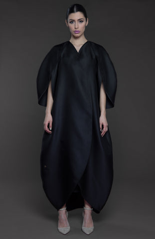 Tulip structured overlapping front Abaya with petal style sleeves