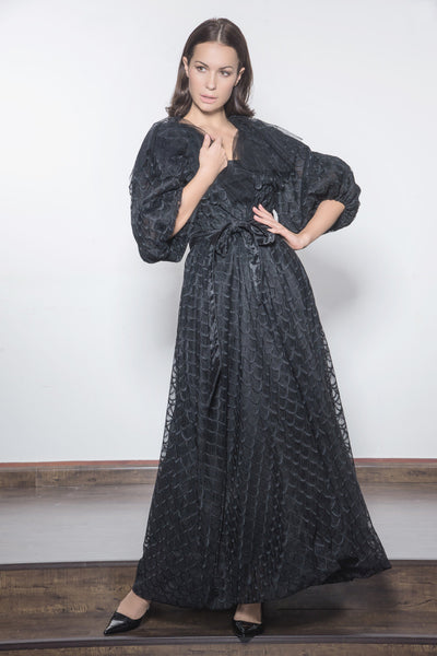 Embroidered Tulle Bubble Cut with Belt Evening Abaya