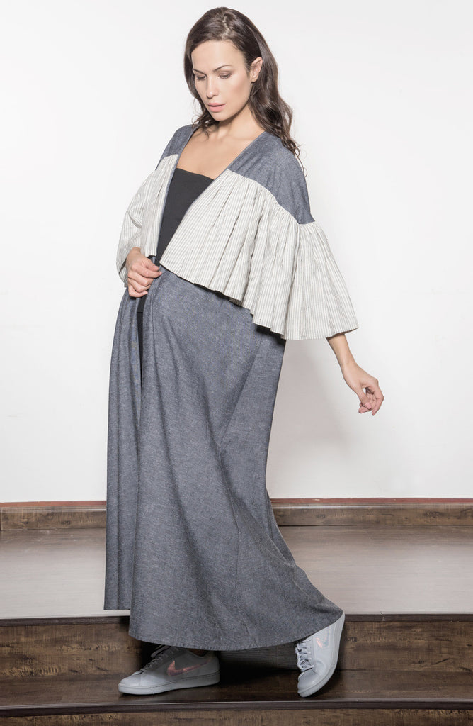 Two-toned Linen Abaya with Oversized Frill Linen