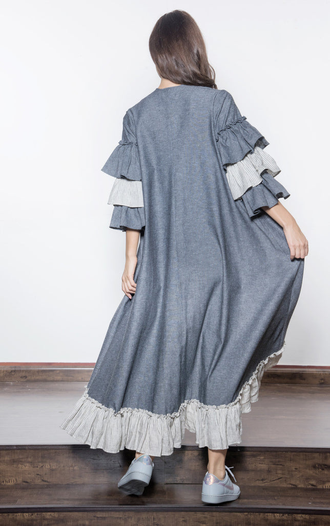 Two-toned Linen With Layers Abaya