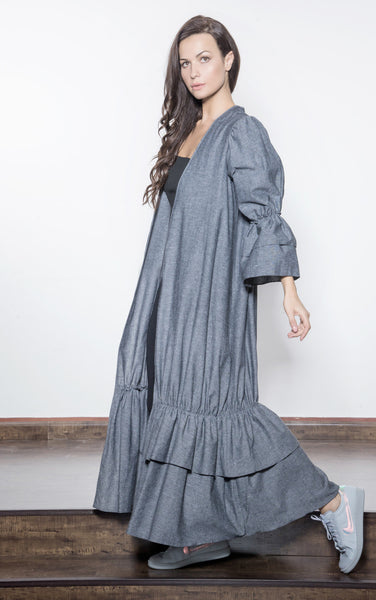Gathered Linen with Layers Abaya