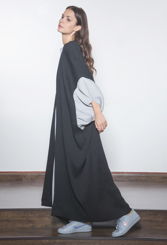 Two-toned Micropleat Abaya with  gathered sleeve