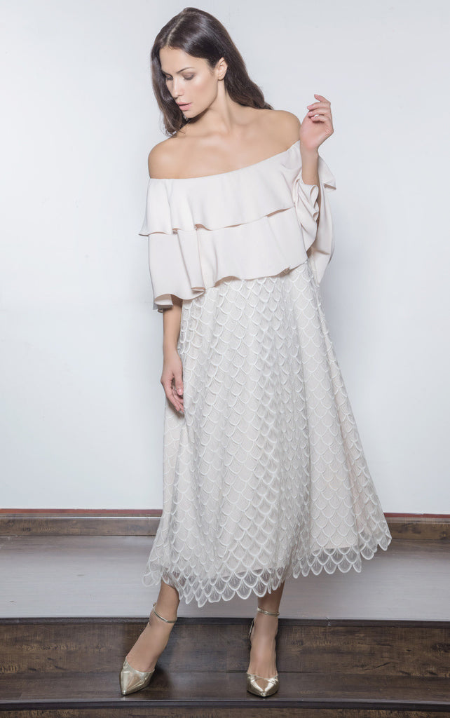 Embroidered/Tulle Off Shoulder Dress with Ruffled Neckline
