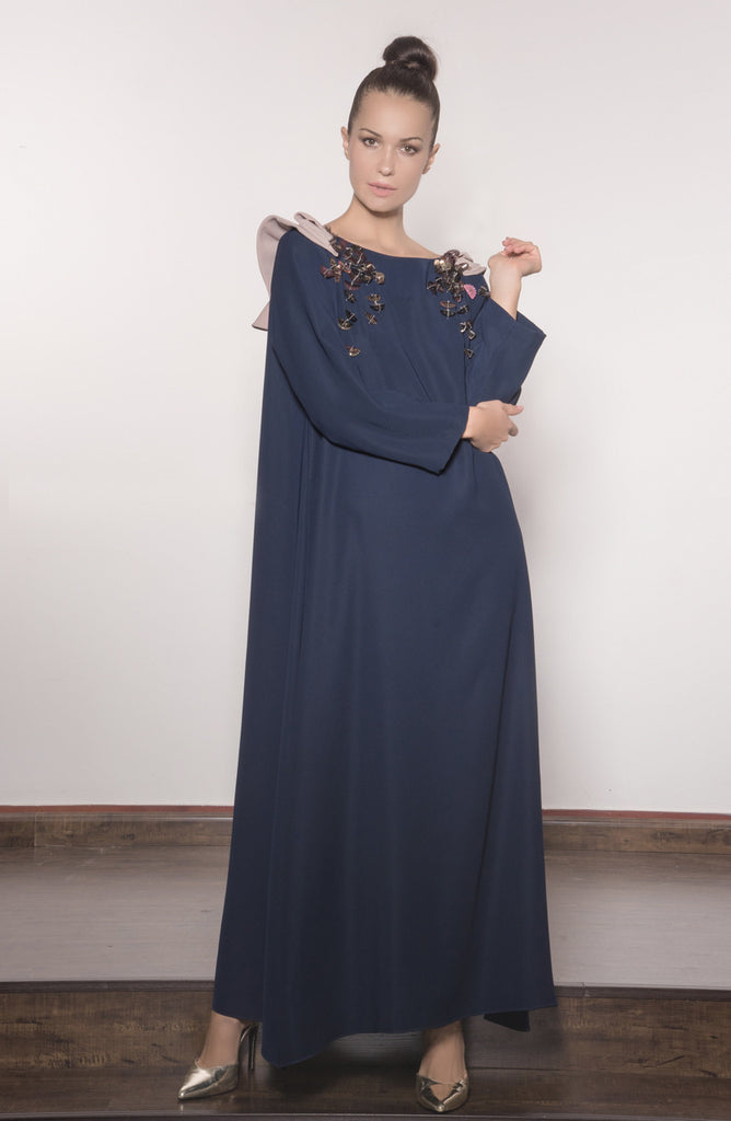 Two-toned Silky Crepe Kaftan With Tulle Back