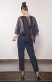 See-through Embroidered Tulle Top & Basic Crepe Pants