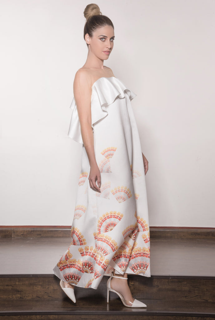 Printed Fan Kaftan with Tulle Shoulders