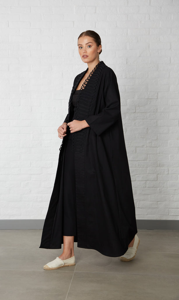 Linen abaya with rope details