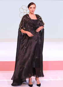 Embellished Shoulder Silk Organza Abaya
