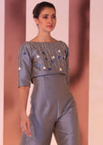 Silk taffeta cropped top with 3d embellishment + high waist pants