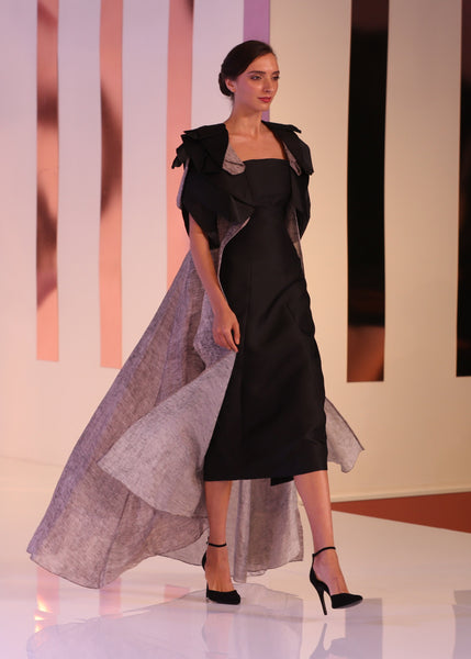 Organza Abaya with tend made tulip overlays on shoulder