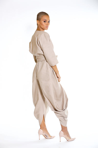 Linen Jumpsuit with Cardigan