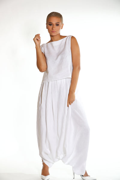 Harem Linen Pants with Gathers Around the Waist
