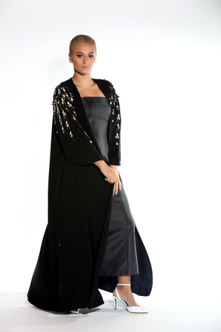 Flowy Cut Crepe Abaya with Stacked Lines of Embellishment
