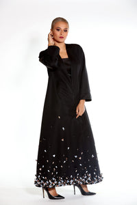 Soft Satin Abaya with Flowy Cut and Fading Embellishment Around the Skirts