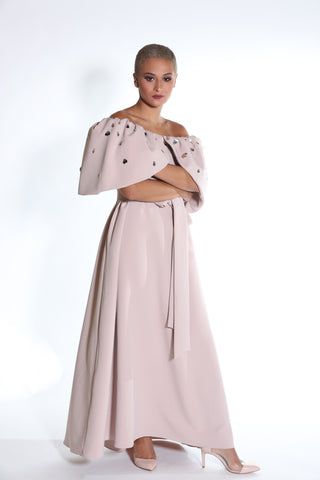 Off Shoulder Flowy Crepe with Belt and Over Sized Embellished Petals Collar