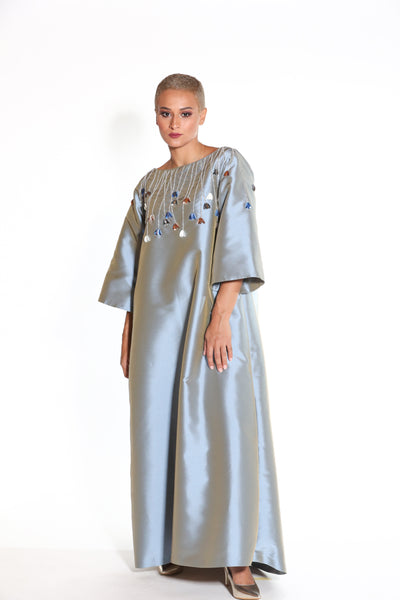 Silk Taffeta a- line Cut Kaftan with Embellished Tulip Stems