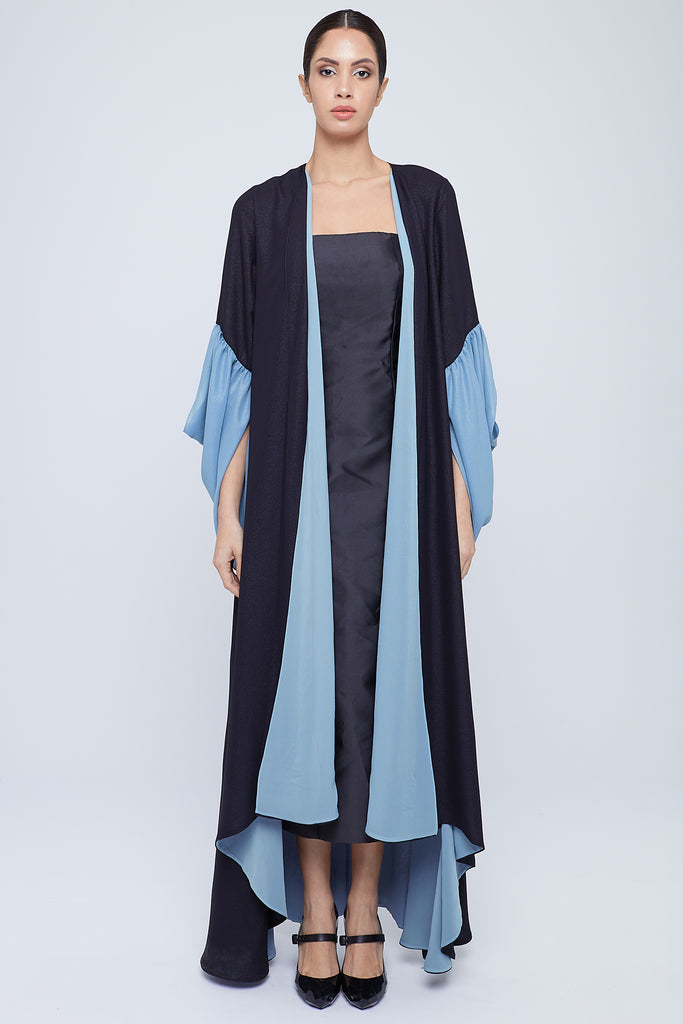 Double layers abaya in shimmering chiffon with flowy draped sleeves