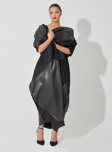 Trio texture with Pique Leather Abaya Embellished with Metal Works