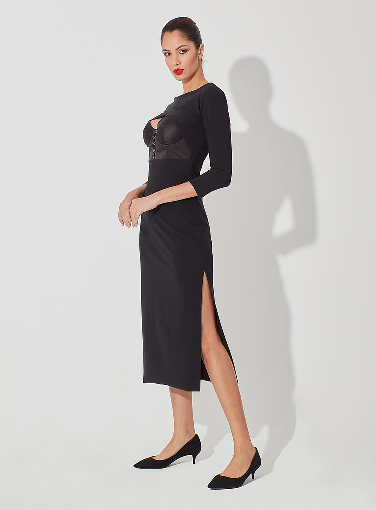 Fitted Long Figure Dress with Side Slit Peakaboo Cut with Bustier