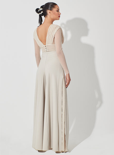 Long Wide Legged Pique Pants with Pleated Sheer Tulle Sides
