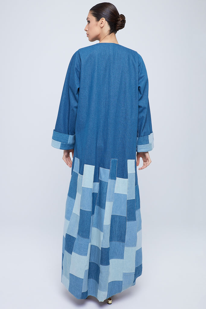 Classic cut abaya with patched denim
