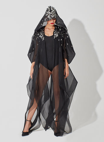 Hoodie Organza Cape with Metallic Embellishment