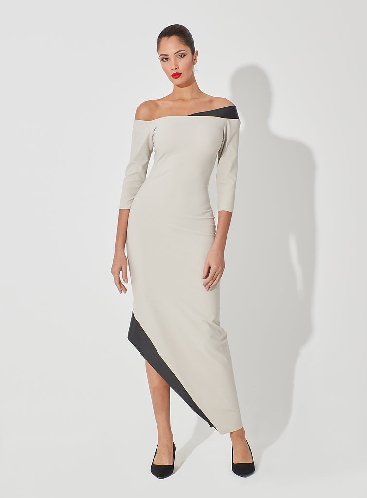 Fitted Dress with Leather Off-shoulder Side Collar Leather Coated Side Hemline Slit