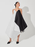 Two-Toned Geometrical Overlay Two Length Raw Silk Dress