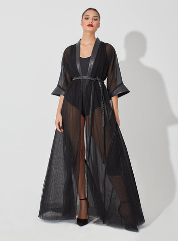 Sheer Pleated Tulle Blended with Leather Abaya with Geometrical Sleeve