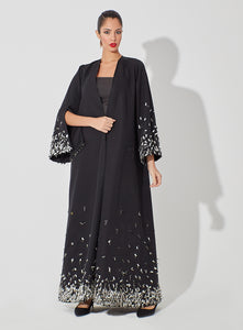 Classic Abaya with Metal Embellishment on Hemline and Sleeves