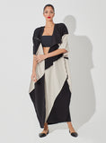 Two-Toned Pique Patched Abaya with Metal Embellishment